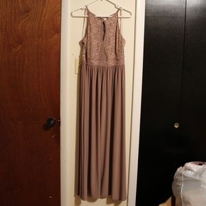 Long formal gown with lace detail, NWT, Size 12P
